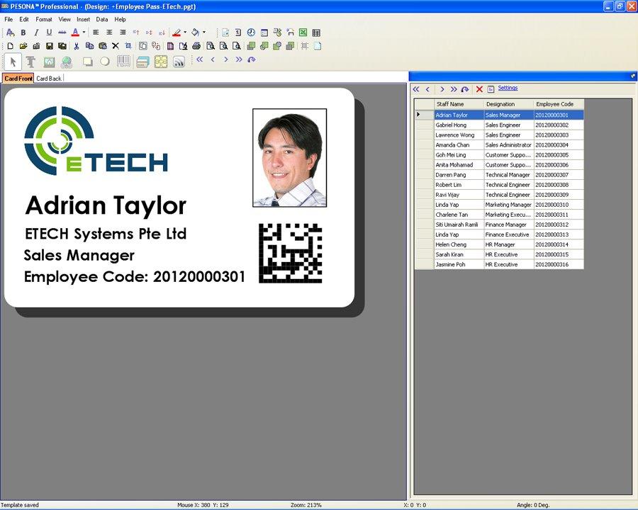 Pesona Id Design Printing Plastic Printer Software Singapore Card